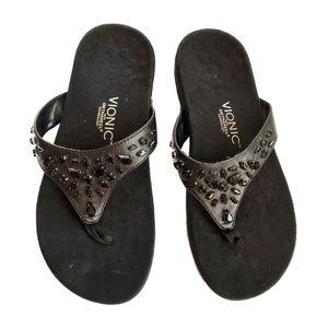 Vionic Black Pearl thong sandals 10